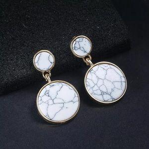 Jewelry - Circle Acrylic Marble Stone Earrings